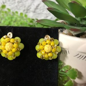 HANDMADE Yellow and Gold Crystal Earring
